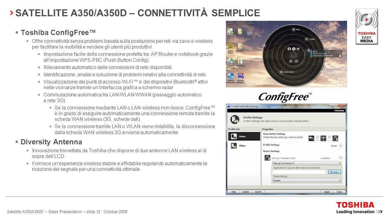 Satellite A350A350D – Sales Presentation – slide:11 October 2008 SATELLITE A350/A350D – CONNETTIVITÀ SEMPLICE Mobile broadband WWAN/3G (HSDPA 7,2 Mbps