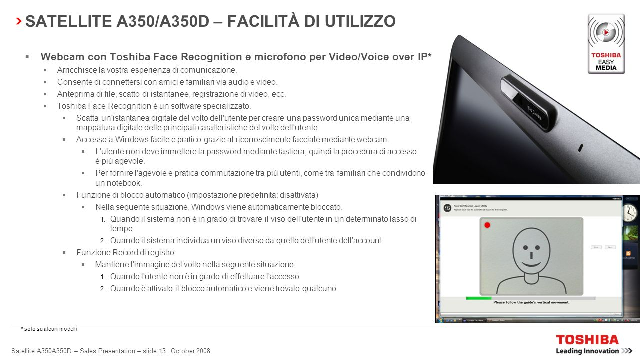 Satellite A350A350D – Sales Presentation – slide:12 October 2008 SATELLITE A350/A350D – CONNETTIVITÀ SEMPLICE Toshiba ConfigFree Offre connettività se