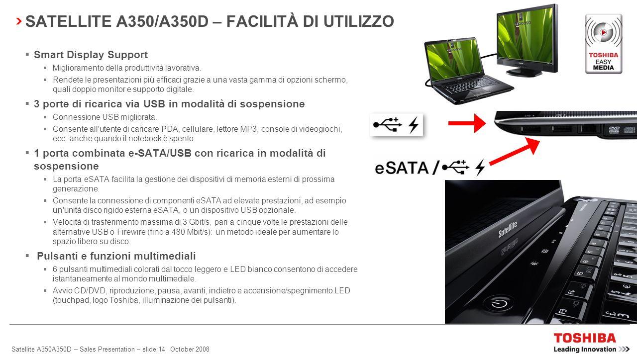 Satellite A350A350D – Sales Presentation – slide:13 October 2008 SATELLITE A350/A350D – FACILITÀ DI UTILIZZO Webcam con Toshiba Face Recognition e mic