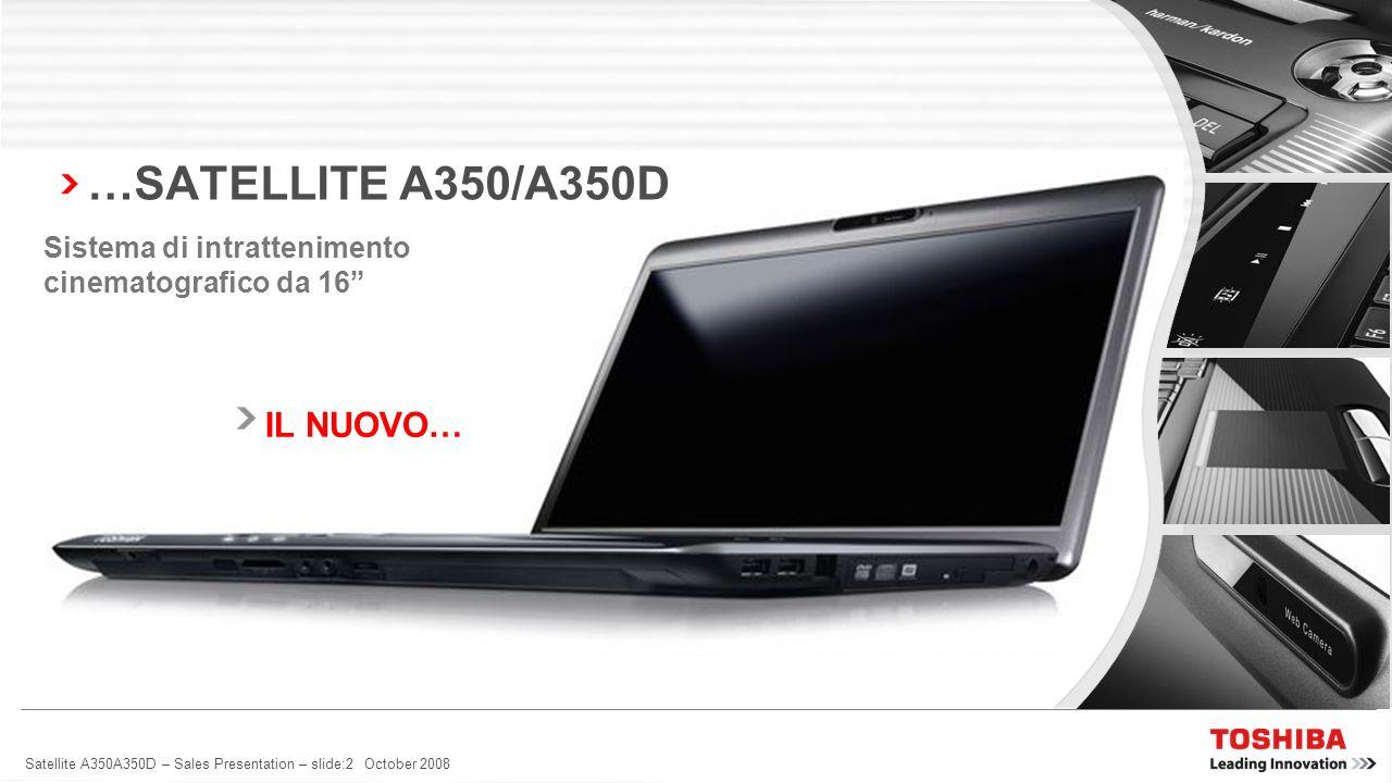 Satellite A350A350D – Sales Presentation – slide:1 October 2008 PICCOLO, PIÙ PICCOLO VELOCE, PIÙ VELOCE LEGGERO, PIÙ LEGGERO LUCENTE, PIÙ LUCENTE CERC