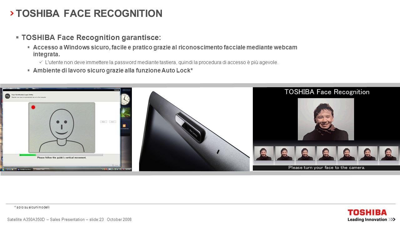 Satellite A350A350D – Sales Presentation – slide:22 October 2008 Fate sentire la vostra voce con Video/Voice over IP La webcam da 1,3 megapixel* e il