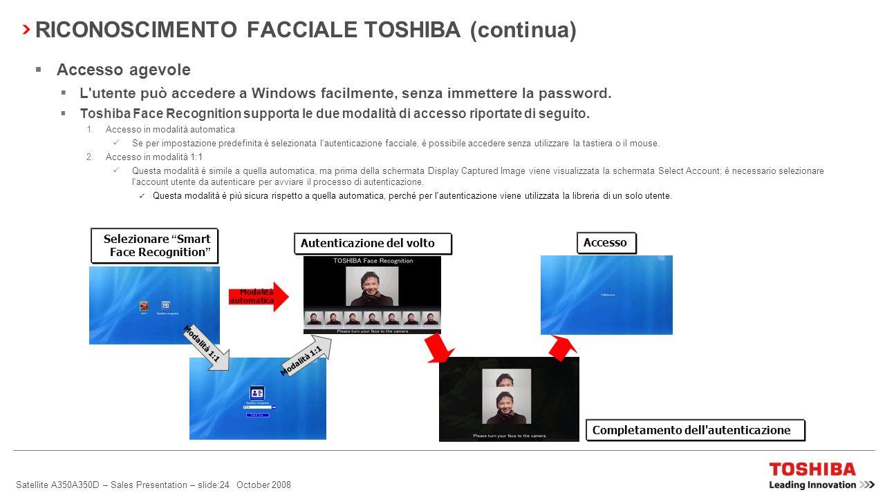 Satellite A350A350D – Sales Presentation – slide:23 October 2008 TOSHIBA Face Recognition garantisce: Accesso a Windows sicuro, facile e pratico grazi