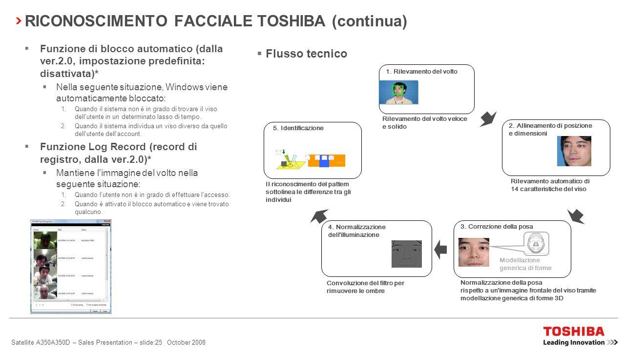Satellite A350A350D – Sales Presentation – slide:24 October 2008 Accesso agevole L'utente può accedere a Windows facilmente, senza immettere la passwo