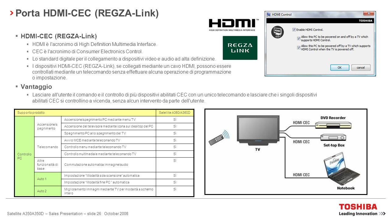 Satellite A350A350D – Sales Presentation – slide:25 October 2008 Funzione di blocco automatico (dalla ver.2.0, impostazione predefinita: disattivata)*