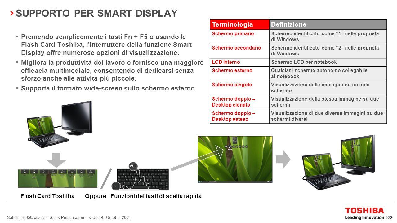 Satellite A350A350D – Sales Presentation – slide:28 October 2008 BLUETOOTH ® 2.1 + EDR Consumi ridotti Sniff Subrating viene utilizzato per ridurre i