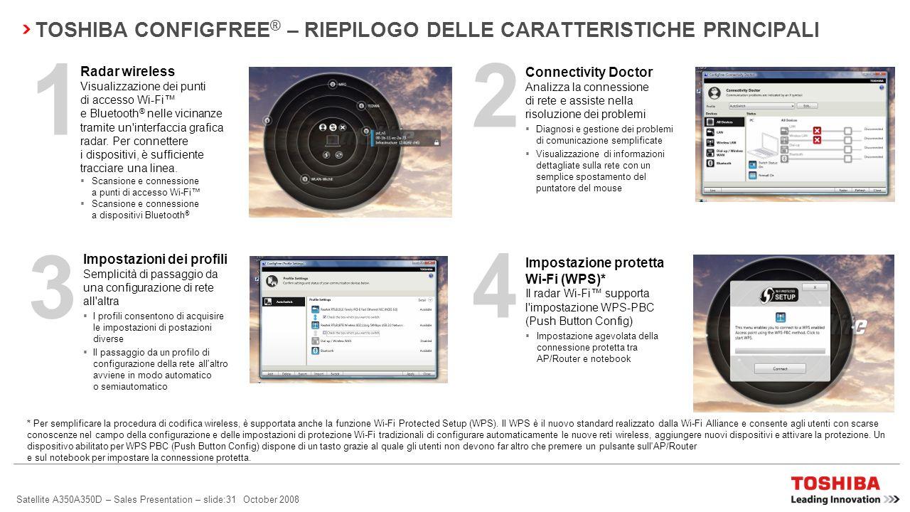Satellite A350A350D – Sales Presentation – slide:30 October 2008 Impostazione agevolata della connessione protetta tra AP/Router e notebook Controllo