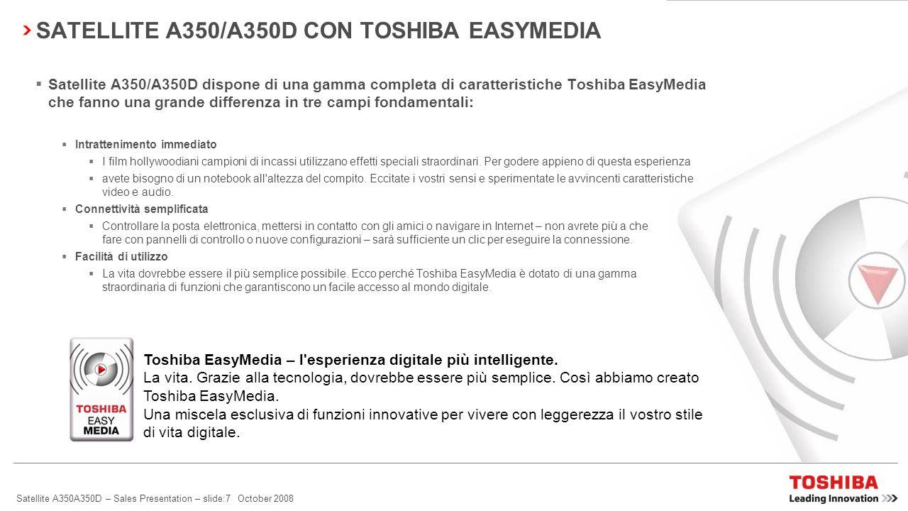 Satellite A350A350D – Sales Presentation – slide:6 October 2008 SATELLITE A350/A350D – LEADER DELL'INNOVAZIONE TOSHIBA EASYMEDIA TECNOLOGIA D'AVANGUAR