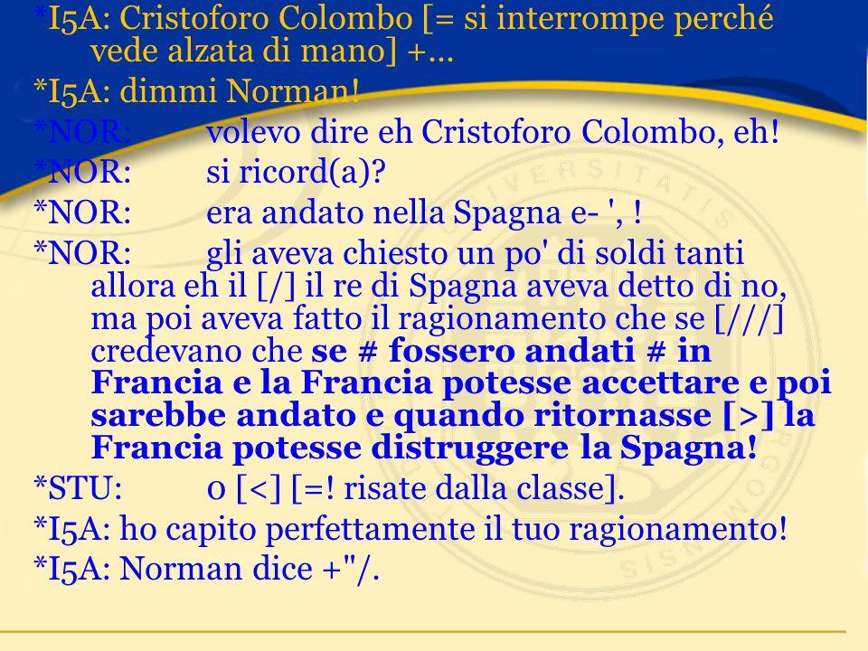 *I5A:Cristoforo Colombo [= si interrompe perché vede alzata di mano] +...