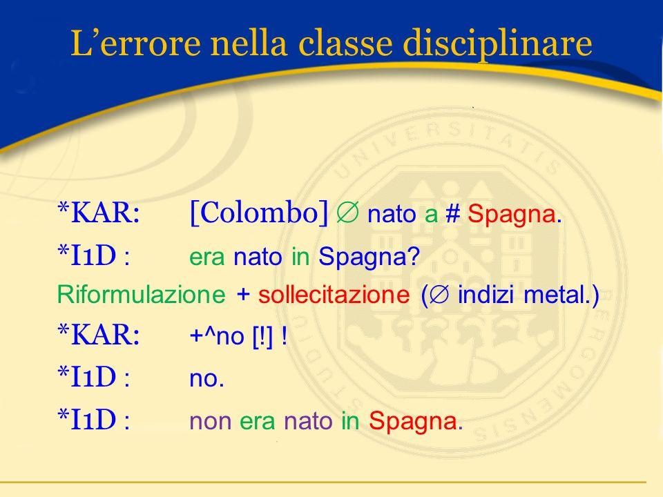 Lerrore nella classe disciplinare *KAR: [Colombo] nato a # Spagna.
