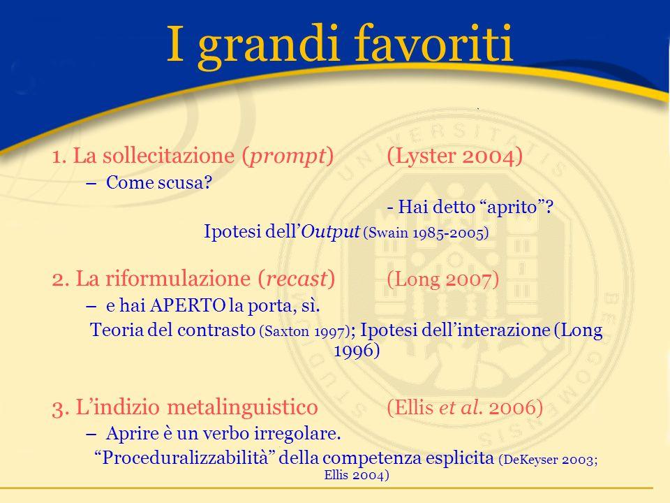 I grandi favoriti 1. La sollecitazione (prompt) (Lyster 2004) –Come scusa.