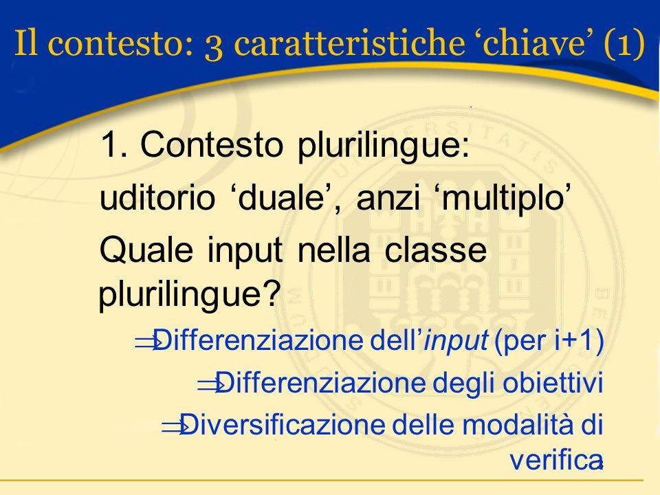 3 1. Contesto plurilingue: uditorio duale, anzi multiplo Quale input nella classe plurilingue.