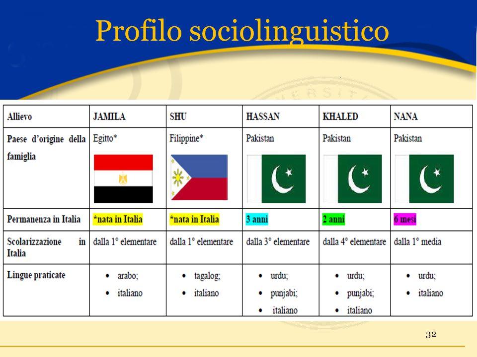 Profilo sociolinguistico 32