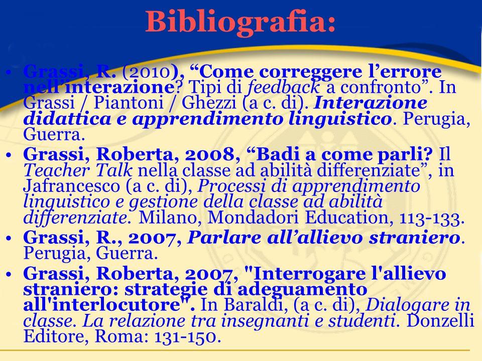 Bibliografia: Grassi, R. (2010), Come correggere lerrore nellinterazione.