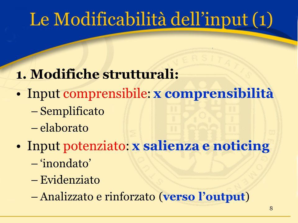 Le Modificabilità dellinput (1) 1.