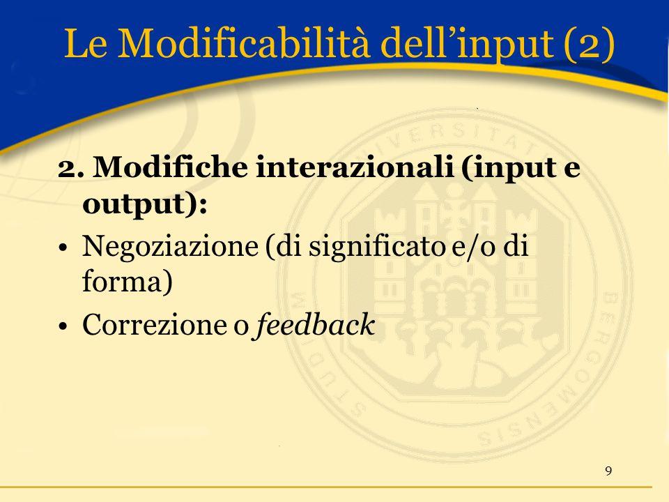 Le Modificabilità dellinput (2) 2.
