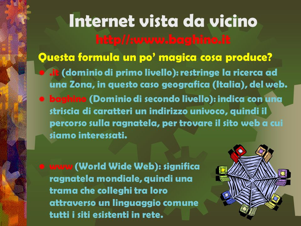 Internet vista da vicino http//:www.baghino.it.com.it (R.A.).de telecom maintainer asiacom maintainer infostrada maintainer root server