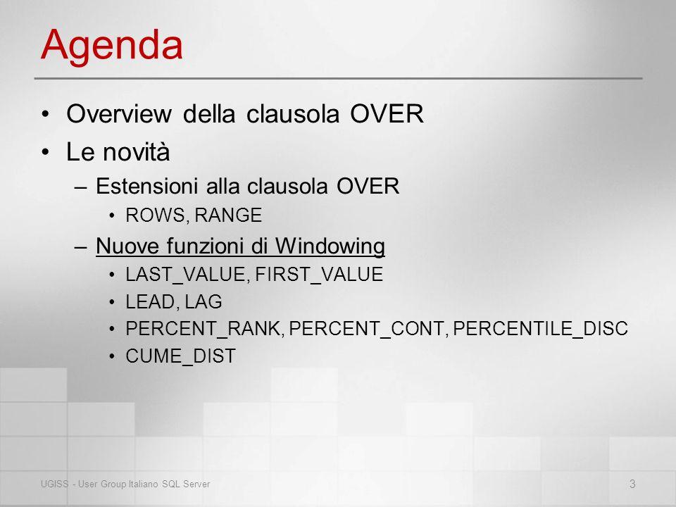 Agenda Overview della clausola OVER Le novità –Estensioni alla clausola OVER ROWS, RANGE –Nuove funzioni di Windowing LAST_VALUE, FIRST_VALUE LEAD, LAG PERCENT_RANK, PERCENT_CONT, PERCENTILE_DISC CUME_DIST 3 UGISS - User Group Italiano SQL Server