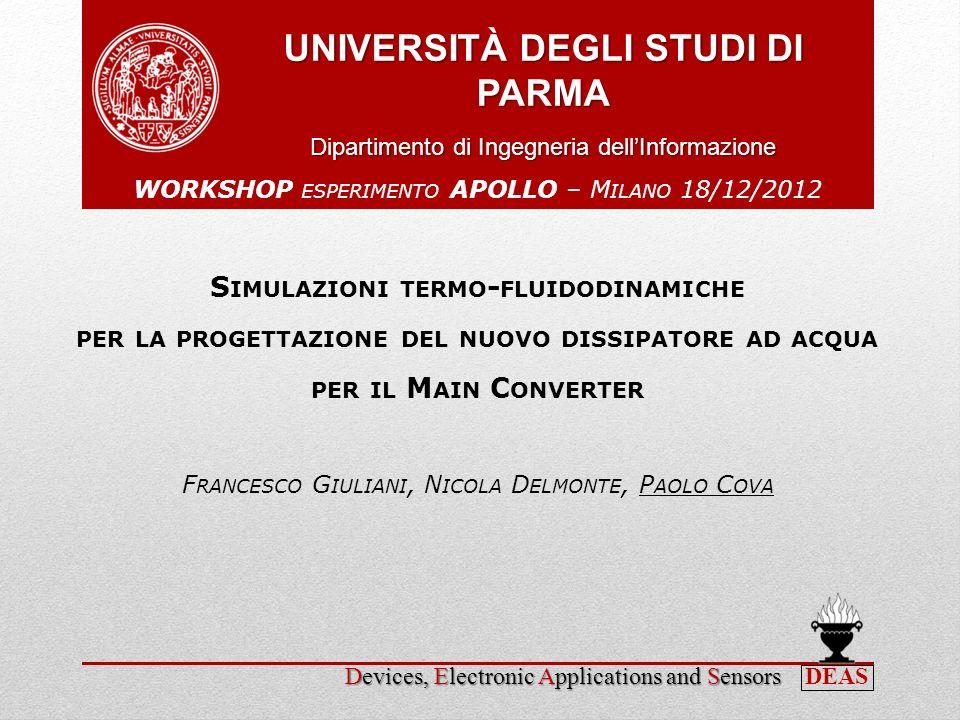 Paolo CovaWorkshop APOLLO - Milano, 18 dicembre 2012 Progettazione, mediante simulazione numerica di un dissipatore ad acqua basato per il raffreddamento del Main Converter 2 Motivazione Rispetto dei vincoli di sistema Limiti di risorse tecnologie convenzionali