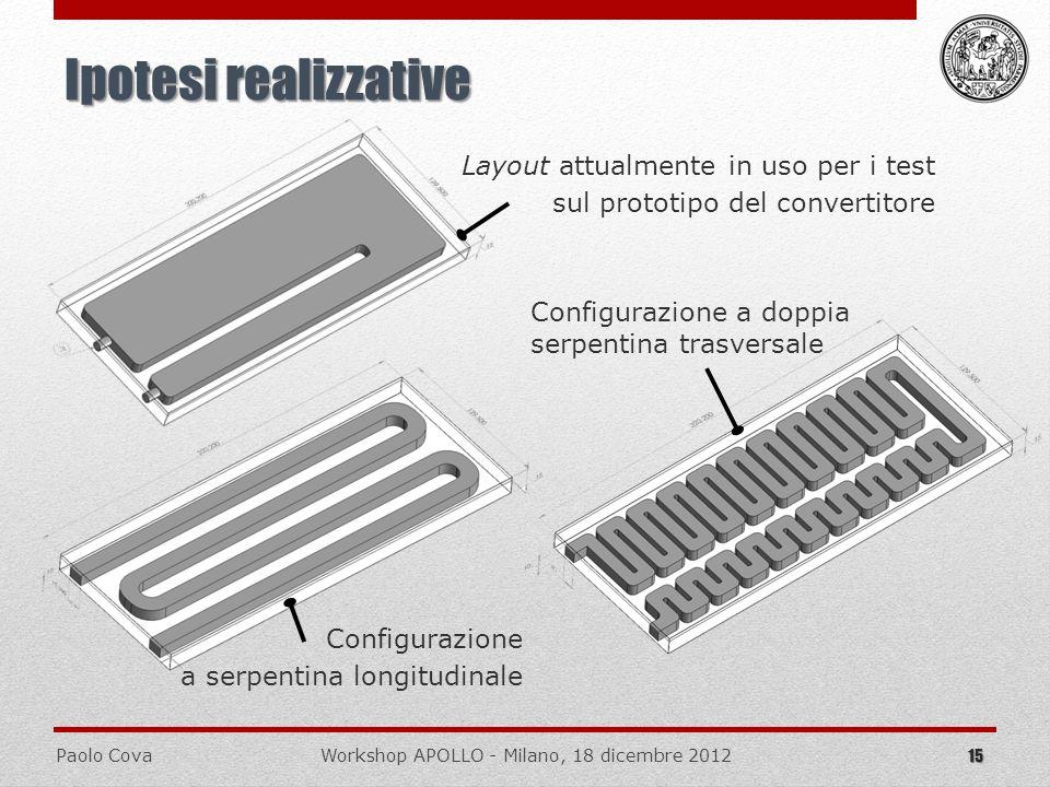 Paolo CovaWorkshop APOLLO - Milano, 18 dicembre 2012 15 Ipotesi realizzative Layout attualmente in uso per i test sul prototipo del convertitore Confi