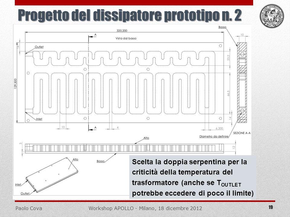 Paolo CovaWorkshop APOLLO - Milano, 18 dicembre 2012 Progetto del dissipatore prototipo n. 2 19 Scelta la doppia serpentina per la criticità della tem