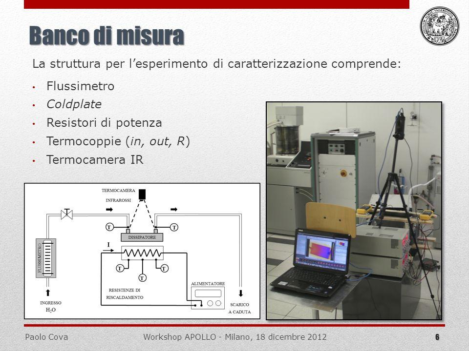 Paolo CovaWorkshop APOLLO - Milano, 18 dicembre 2012 6 Banco di misura La struttura per lesperimento di caratterizzazione comprende: Coldplate Resisto