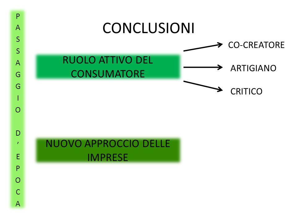 CONCLUSIONI RUOLO ATTIVO DEL CONSUMATORE NUOVO APPROCCIO DELLE IMPRESE CO-CREATORE ARTIGIANO CRITICO
