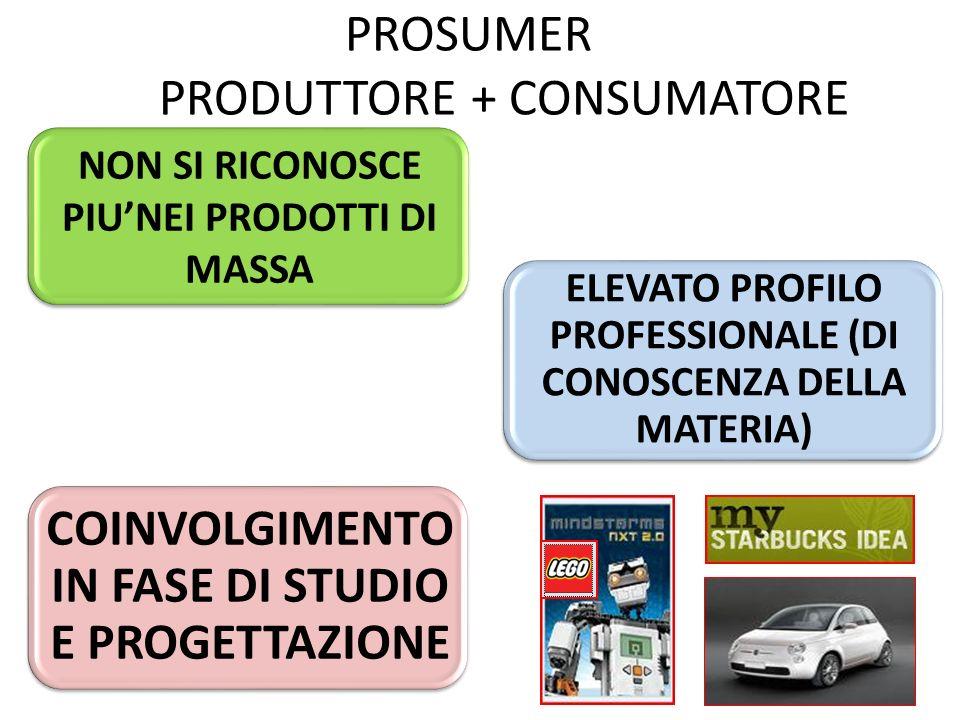 PROSUMER PRODUTTORE + CONSUMATORE NON SI RICONOSCE PIUNEI PRODOTTI DI MASSA ELEVATO PROFILO PROFESSIONALE (DI CONOSCENZA DELLA MATERIA) COINVOLGIMENTO IN FASE DI STUDIO E PROGETTAZIONE