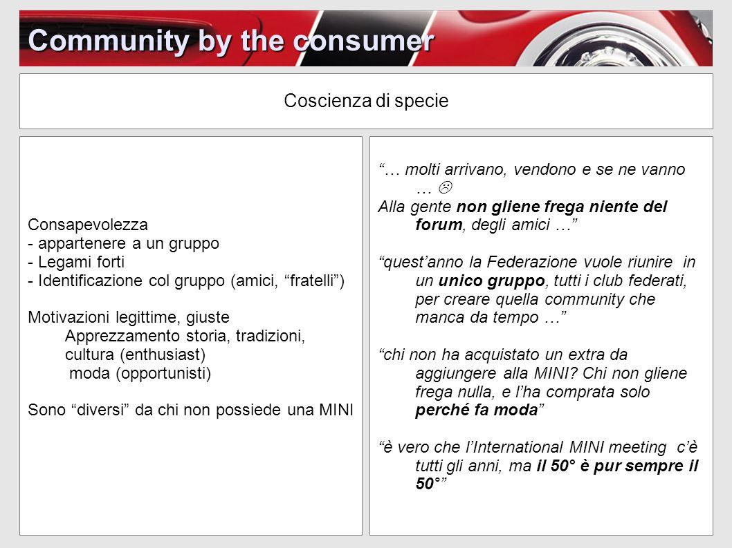 Community by the consumer Coscienza di specie … molti arrivano, vendono e se ne vanno … Alla gente non gliene frega niente del forum, degli amici … qu