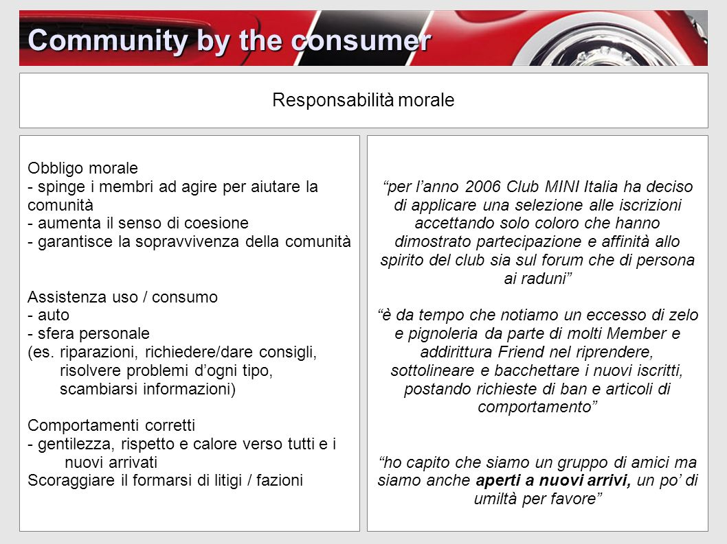 Community for the consumer Cosè - creata da MINI - strategia social media - relazione con i consumatori Dove - MINI Space - Facebook (spazio satellite) - Twitter (spazio satellite) - YouTube (spazio satellite)