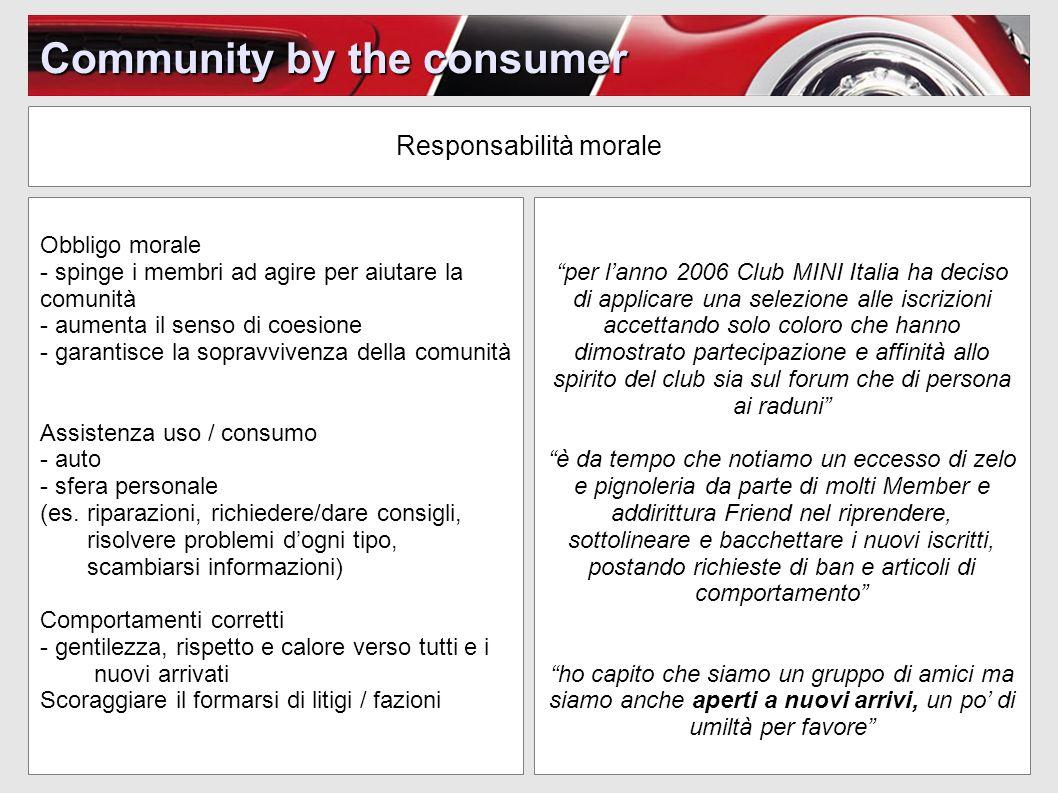 Community by the consumer Responsabilità morale per lanno 2006 Club MINI Italia ha deciso di applicare una selezione alle iscrizioni accettando solo c