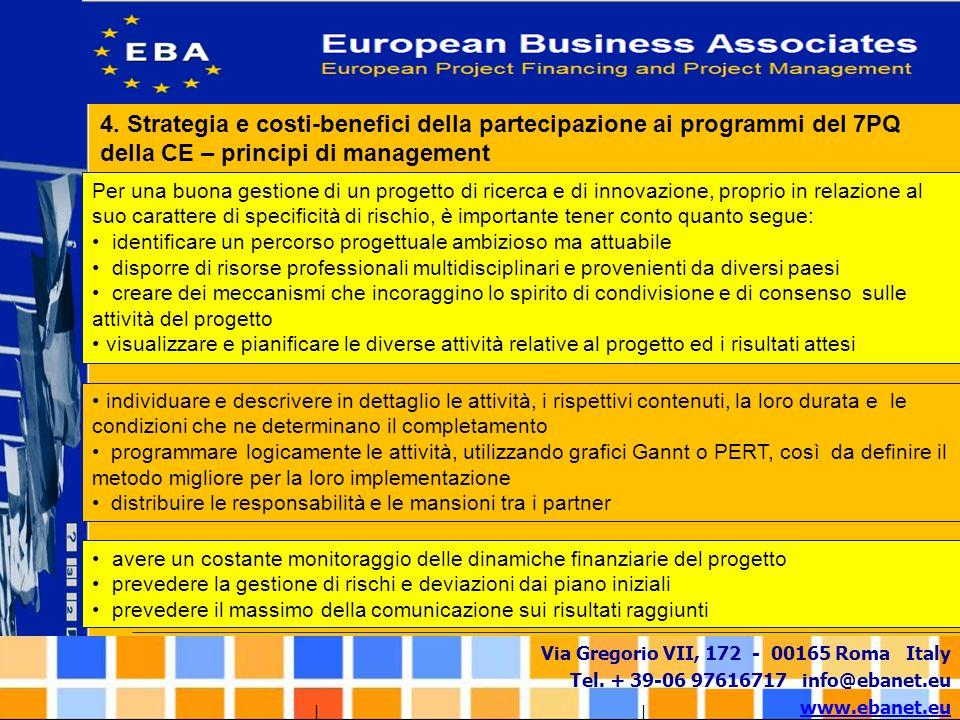 Via Gregorio VII, 172 - 00165 Roma Italy Tel. + 39-06 97616717 info@ebanet.eu www.ebanet.eu 4. Strategia e costi-benefici della partecipazione ai prog