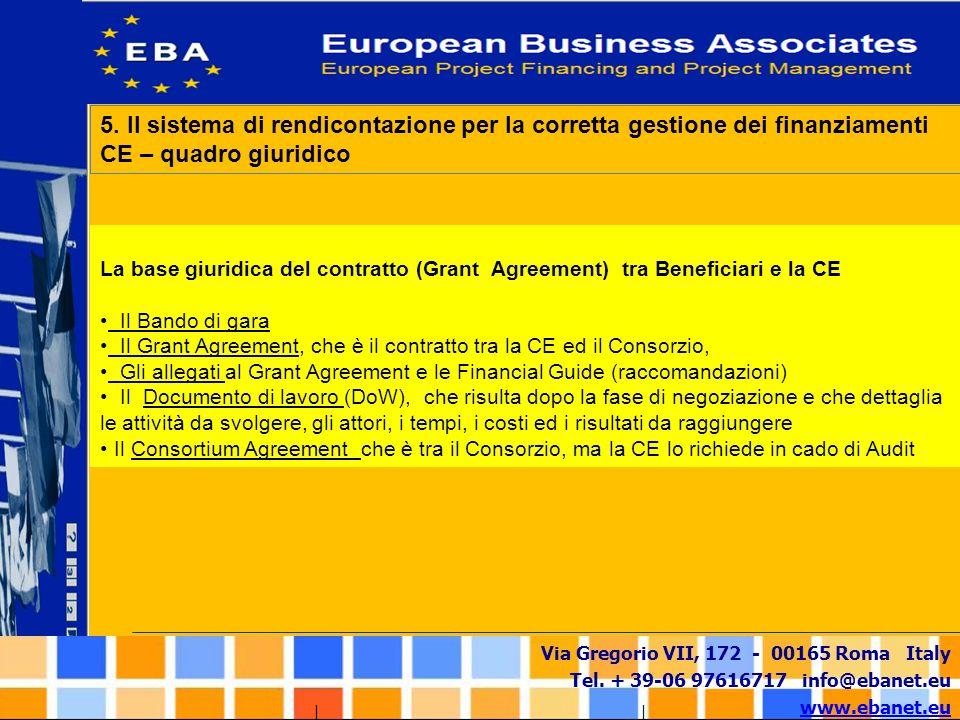 Via Gregorio VII, 172 - 00165 Roma Italy Tel. + 39-06 97616717 info@ebanet.eu www.ebanet.eu La base giuridica del contratto (Grant Agreement) tra Bene