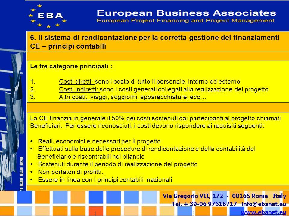 Via Gregorio VII, 172 - 00165 Roma Italy Tel. + 39-06 97616717 info@ebanet.eu www.ebanet.eu La CE finanzia in generale il 50% dei costi sostenuti dai