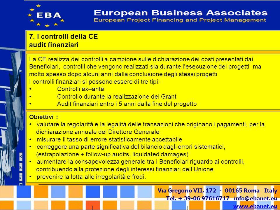 Via Gregorio VII, 172 - 00165 Roma Italy Tel. + 39-06 97616717 info@ebanet.eu www.ebanet.eu La CE realizza dei controlli a campione sulle dichiarazion