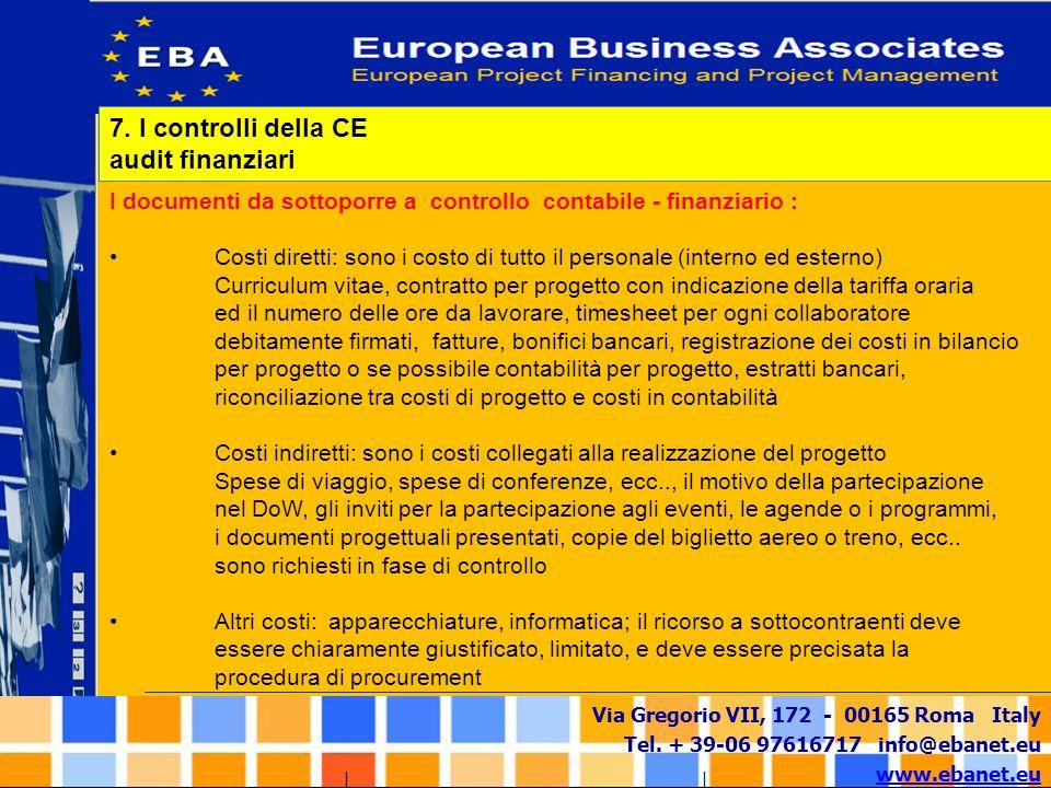 Via Gregorio VII, 172 - 00165 Roma Italy Tel. + 39-06 97616717 info@ebanet.eu www.ebanet.eu I documenti da sottoporre a controllo contabile - finanzia