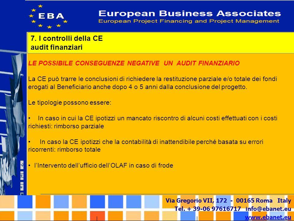 Via Gregorio VII, 172 - 00165 Roma Italy Tel. + 39-06 97616717 info@ebanet.eu www.ebanet.eu LE POSSIBILE CONSEGUENZE NEGATIVE UN AUDIT FINANZIARIO La