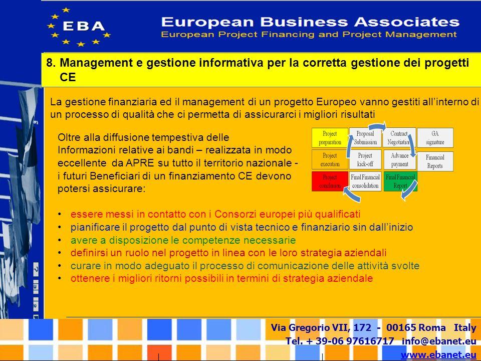Via Gregorio VII, 172 - 00165 Roma Italy Tel. + 39-06 97616717 info@ebanet.eu www.ebanet.eu La gestione finanziaria ed il management di un progetto Eu