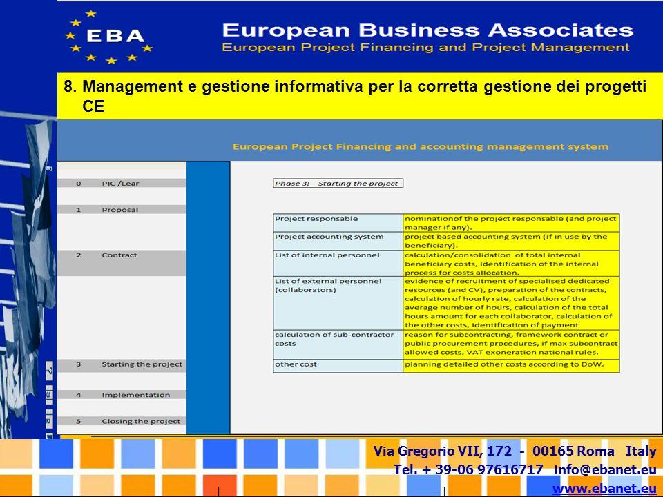 Via Gregorio VII, 172 - 00165 Roma Italy Tel. + 39-06 97616717 info@ebanet.eu www.ebanet.eu 8. Management e gestione informativa per la corretta gesti