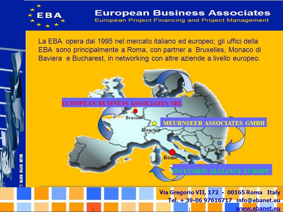 Via Gregorio VII, 172 - 00165 Roma Italy Tel. + 39-06 97616717 info@ebanet.eu www.ebanet.eu La EBA opera dal 1995 nel mercato italiano ed europeo; gli
