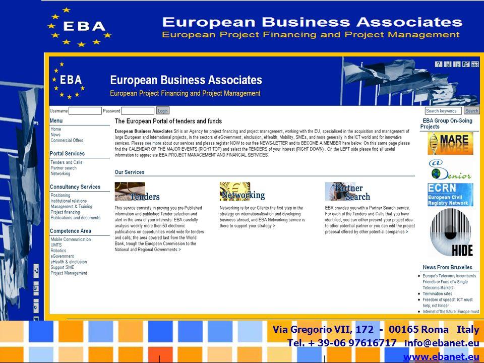 Via Gregorio VII, 172 - 00165 Roma Italy Tel. + 39-06 97616717 info@ebanet.eu www.ebanet.eu