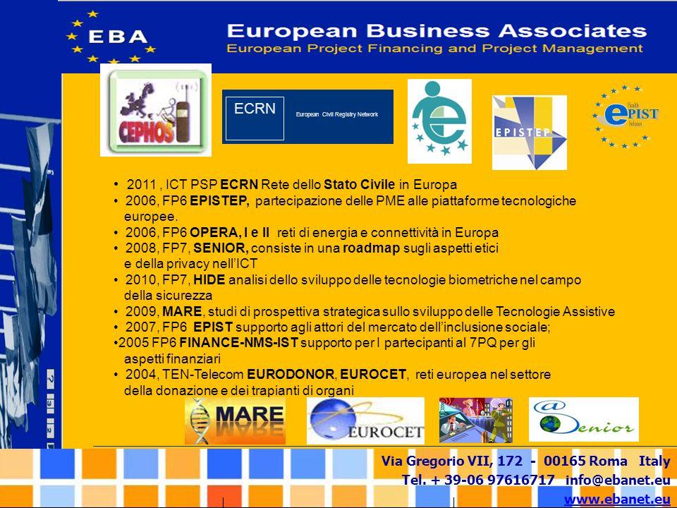 Via Gregorio VII, 172 - 00165 Roma Italy Tel. + 39-06 97616717 info@ebanet.eu www.ebanet.eu 2011, ICT PSP ECRN Rete dello Stato Civile in Europa 2006,