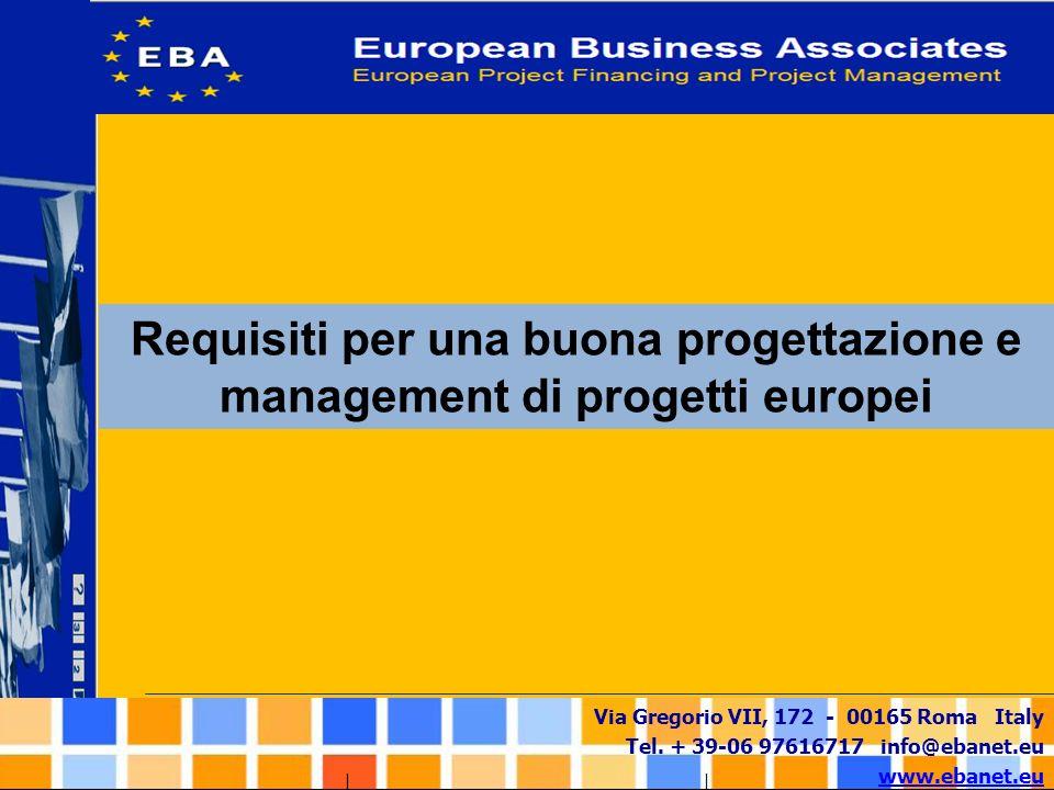 Via Gregorio VII, 172 - 00165 Roma Italy Tel. + 39-06 97616717 info@ebanet.eu www.ebanet.eu Requisiti per una buona progettazione e management di prog