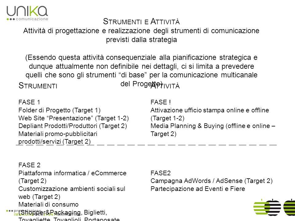 S TRUMENTI E A TTIVITÀ Attività di progettazione e realizzazione degli strumenti di comunicazione previsti dalla strategia (Essendo questa attività consequenziale alla pianificazione strategica e dunque attualmente non definibile nei dettagli, ci si limita a prevedere quelli che sono gli strumenti di base per la comunicazione multicanale del Progetto) S TRUMENTI FASE 1 Folder di Progetto (Target 1) Web Site Presentazione (Target 1-2) Depliant Prodotti/Produttori (Target 2) Materiali promo-pubblicitari prodotti/servizi (Target 2) FASE 2 Piattaforma informatica / eCommerce (Target 2) Customizzazione ambienti sociali sul web (Target 2) Materiali di consumo (Shopper&Packaging, Biglietti, Tovagliette, Tovaglioli, Portaposate, Gadget, ecc.) A TTIVITÀ FASE .