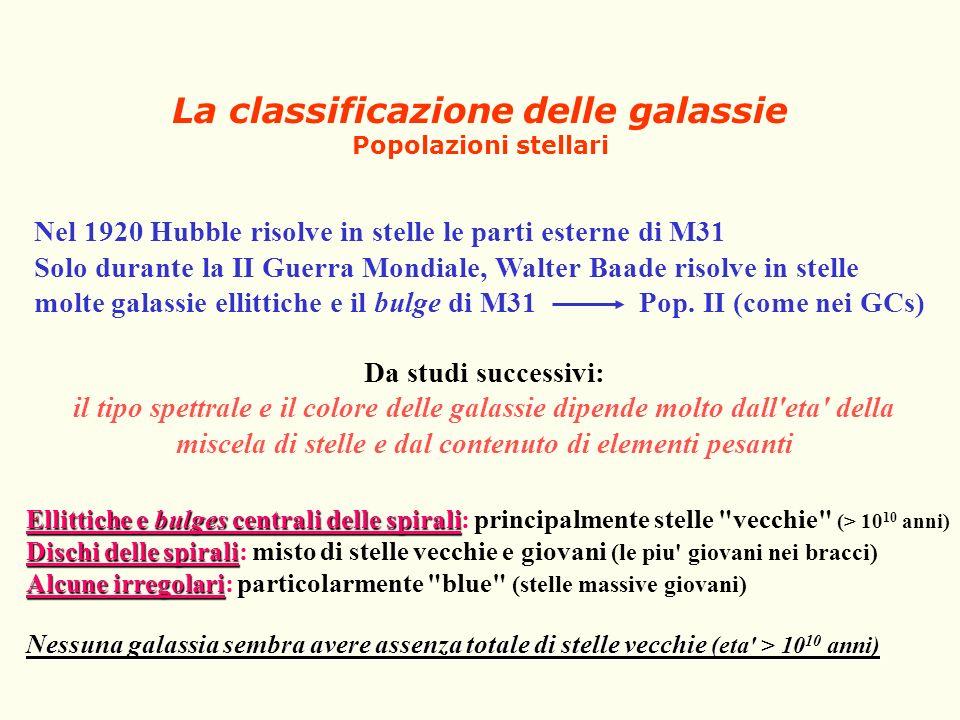 La classificazione delle galassie Popolazioni stellari Nel 1920 Hubble risolve in stelle le parti esterne di M31 Solo durante la II Guerra Mondiale, W