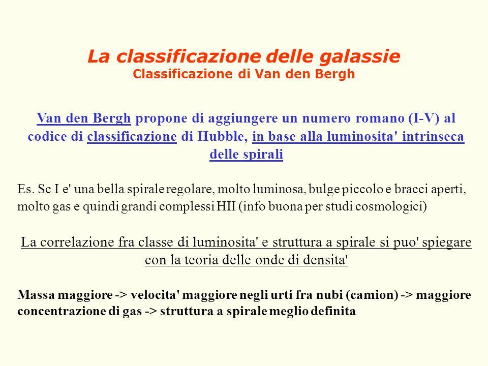 La classificazione delle galassie Classificazione di Van den Bergh Van den Bergh propone di aggiungere un numero romano (I-V) al codice di classificaz