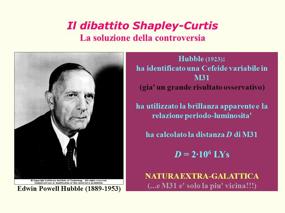 Il dibattito Shapley-Curtis La soluzione della controversia Edwin Powell Hubble (1889-1953) Hubble (1923) : ha identificato una Cefeide variabile in M