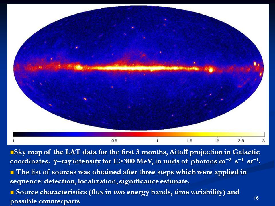 16 Sky map of the LAT data for the first 3 months, Aito projection in Galactic coordinates. ray intensity for E>300 MeV, in units of photons m 2 s 1 s