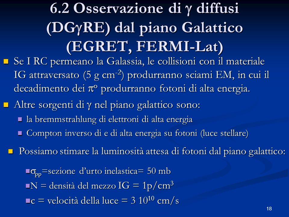 18 6.2 Osservazione di diffusi (DG RE) dal piano Galattico (EGRET, FERMI-Lat) Se I RC permeano la Galassia, le collisioni con il materiale IG attraversato (5 g cm -2 ) produrranno sciami EM, in cui il decadimento dei o produrranno fotoni di alta energia.