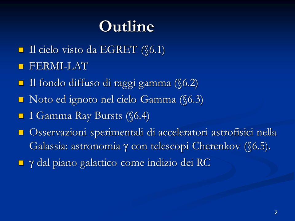 2 Il cielo visto da EGRET (§6.1) Il cielo visto da EGRET (§6.1) FERMI-LAT FERMI-LAT Il fondo diffuso di raggi gamma (§6.2) Il fondo diffuso di raggi gamma (§6.2) Noto ed ignoto nel cielo Gamma (§6.3) Noto ed ignoto nel cielo Gamma (§6.3) I Gamma Ray Bursts (§6.4) I Gamma Ray Bursts (§6.4) Osservazioni sperimentali di acceleratori astrofisici nella Galassia: astronomia con telescopi Cherenkov (§6.5).