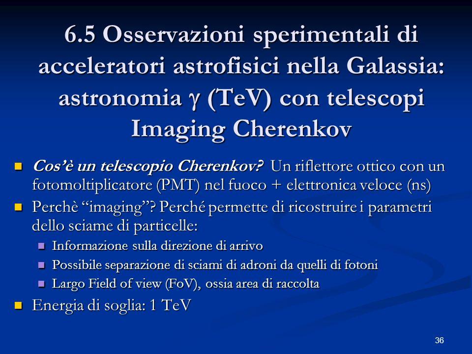 36 6.5 Osservazioni sperimentali di acceleratori astrofisici nella Galassia: astronomia (TeV) con telescopi Imaging Cherenkov Cosè un telescopio Chere